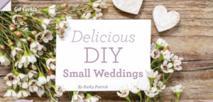 Delicious DIY Small Weddings / flowers and hearts on wood table