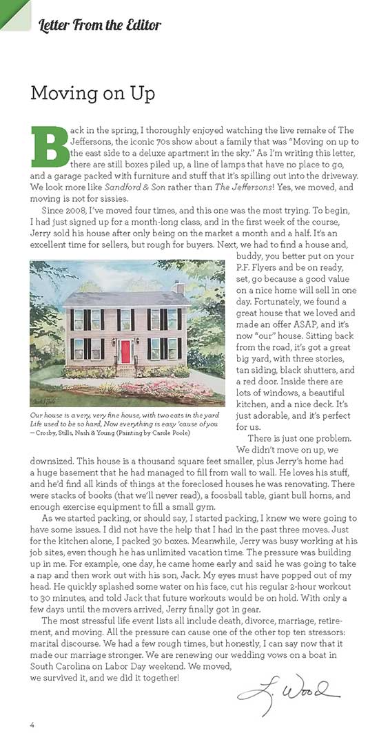 Letter from the Editor – Fall 2019 – Northwest Georgia Living